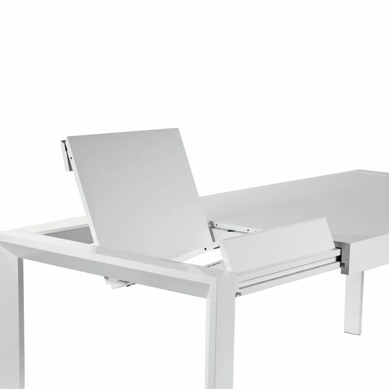 Glossy White Lacquer Executive Desk Or Conference Table With Butterfly Leaf  Extension