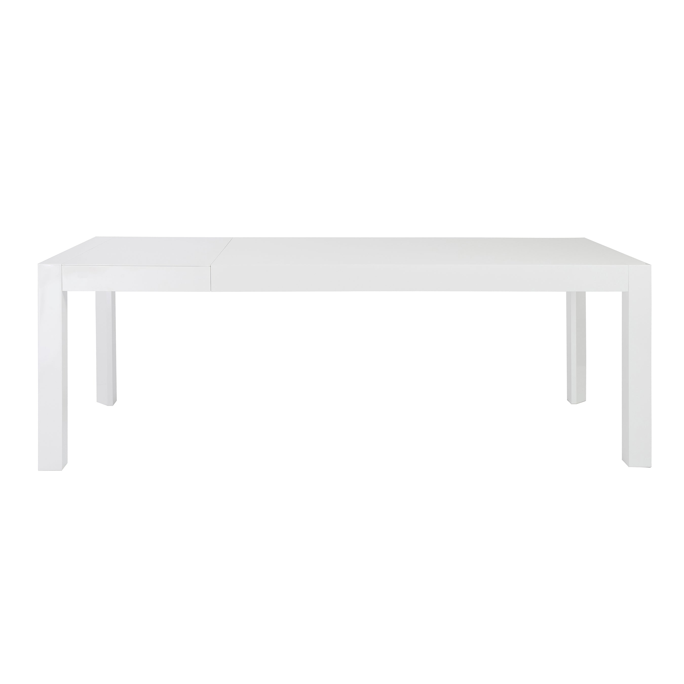 "63-83"" Glossy White Lacquer Desk or Conference Table with Butterfly Leaf Extension"