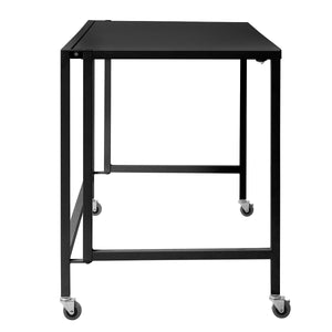 "Black 47"" Compact Folding Desk with Locking Wheels"