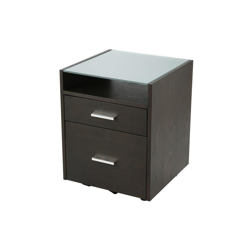 Elegant Wenge-Stained Filing Cabinet w/ Glass Top