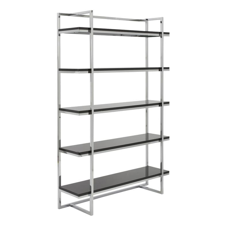 Sturdy 5-Shelf Office Bookcase w/ Exposed Steel