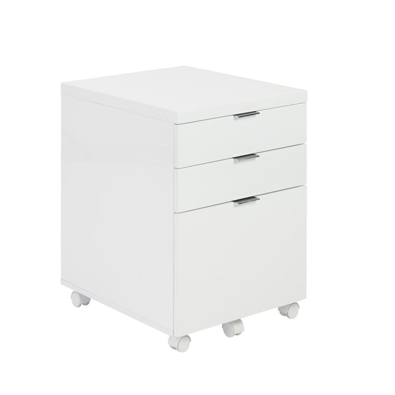 Etonnant 3 Drawer White Lacquer Rolling File Cabinet