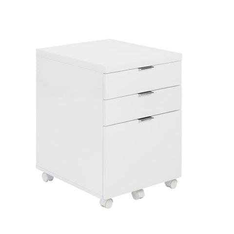 3-Drawer White Lacquer Rolling File Cabinet