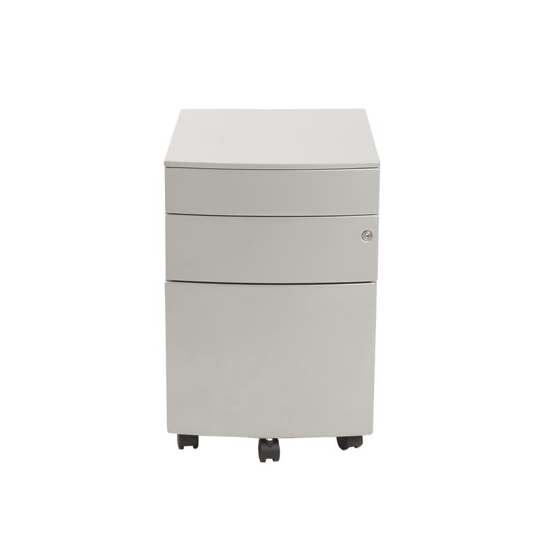 Modern Silver Locking File Cabinet on Premium Casters