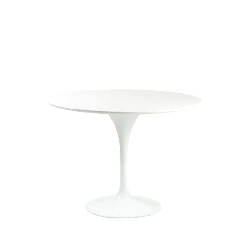 "Stylish 40"" Round High-Gloss White Meeting Table"