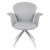 Gray Fabric & Stainless Steel Guest or Conference Swivel Chair w/ Arms