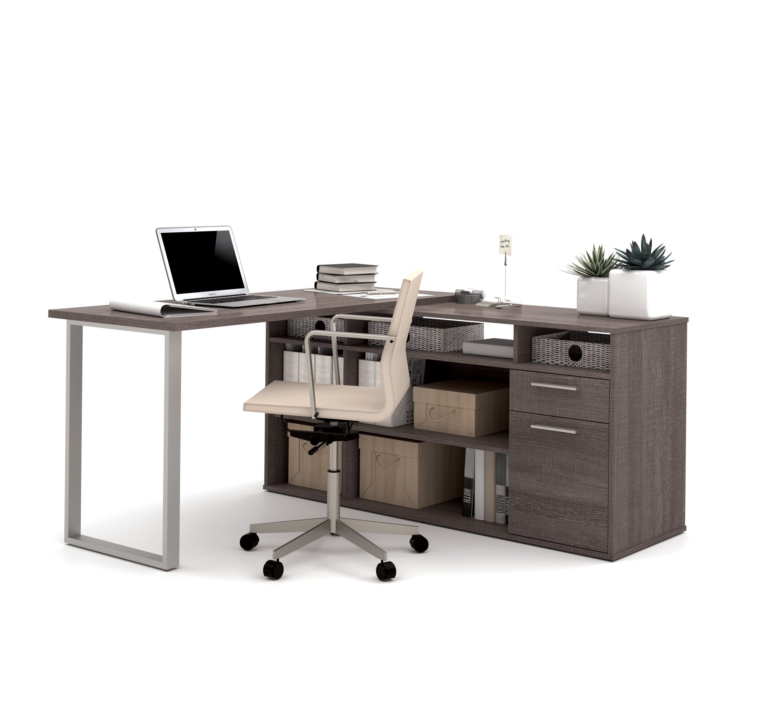 Image of: Modern L Shaped Office Desk In Bark Gray With Integrated Storage Computerdesk Com
