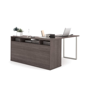 Modern L-shaped Office Desk in Bark Gray with Integrated Storage