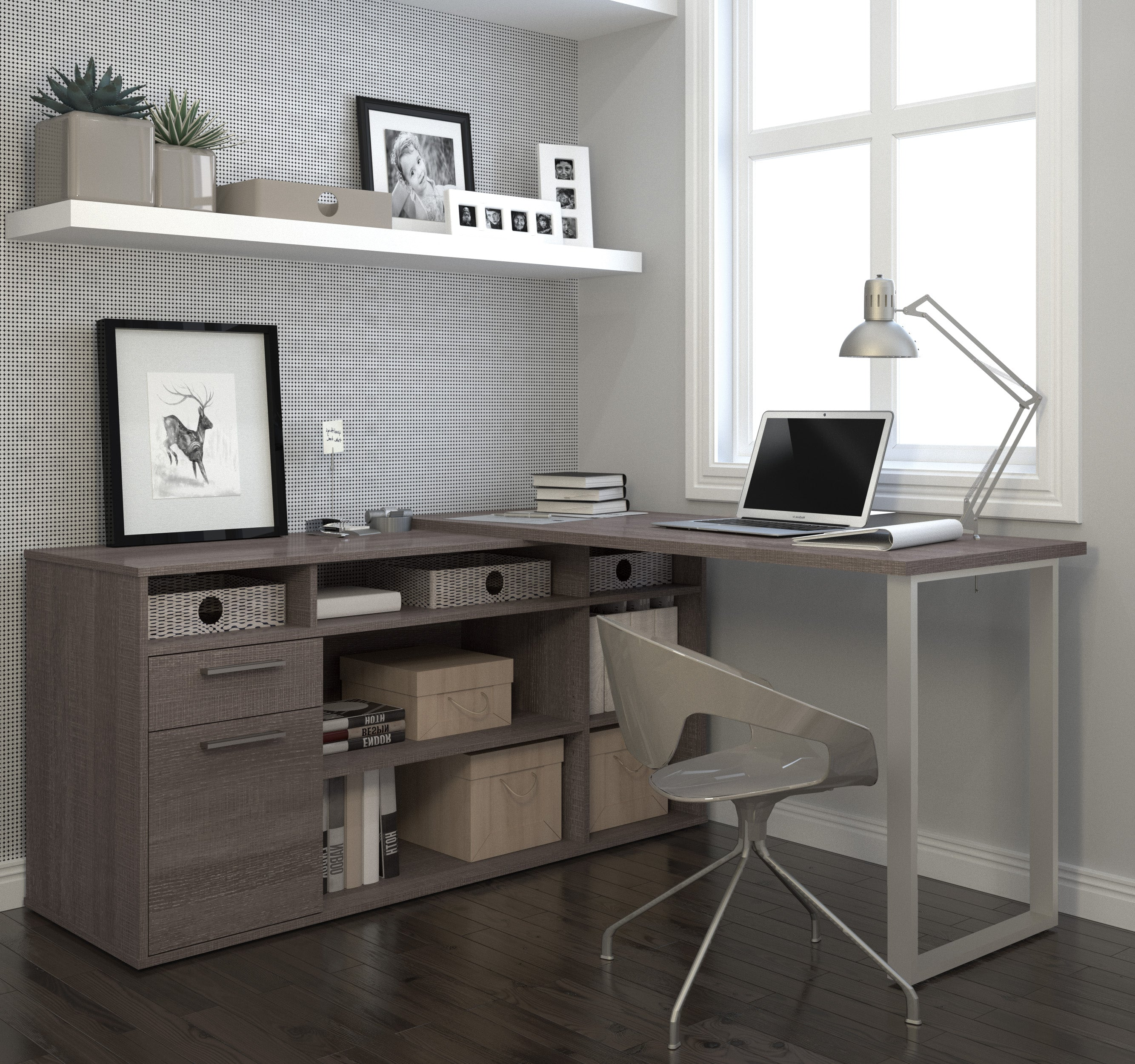Modern L Shaped Office Desk In Bark Gray With Integrated Storage