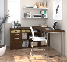 Load image into Gallery viewer, Chocolate L-shaped Modern Desk with Integrated Storage
