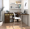 Chocolate L-shaped Modern Desk with Integrated Storage
