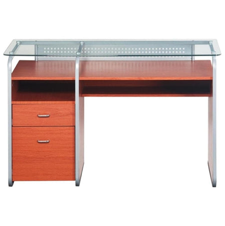 Contemporary Single Pedestal Desk with Tempered Glass Top in Dark Honey