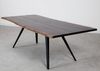 "Modern 83"" Solid Seared Oak & Cast Iron Desk or Conference Table"
