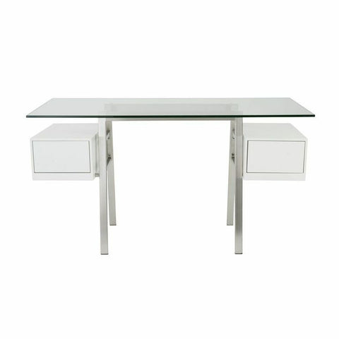 "55"" Modern Brushed Stainless & Clear Glass Office Desk with White Side Drawers"