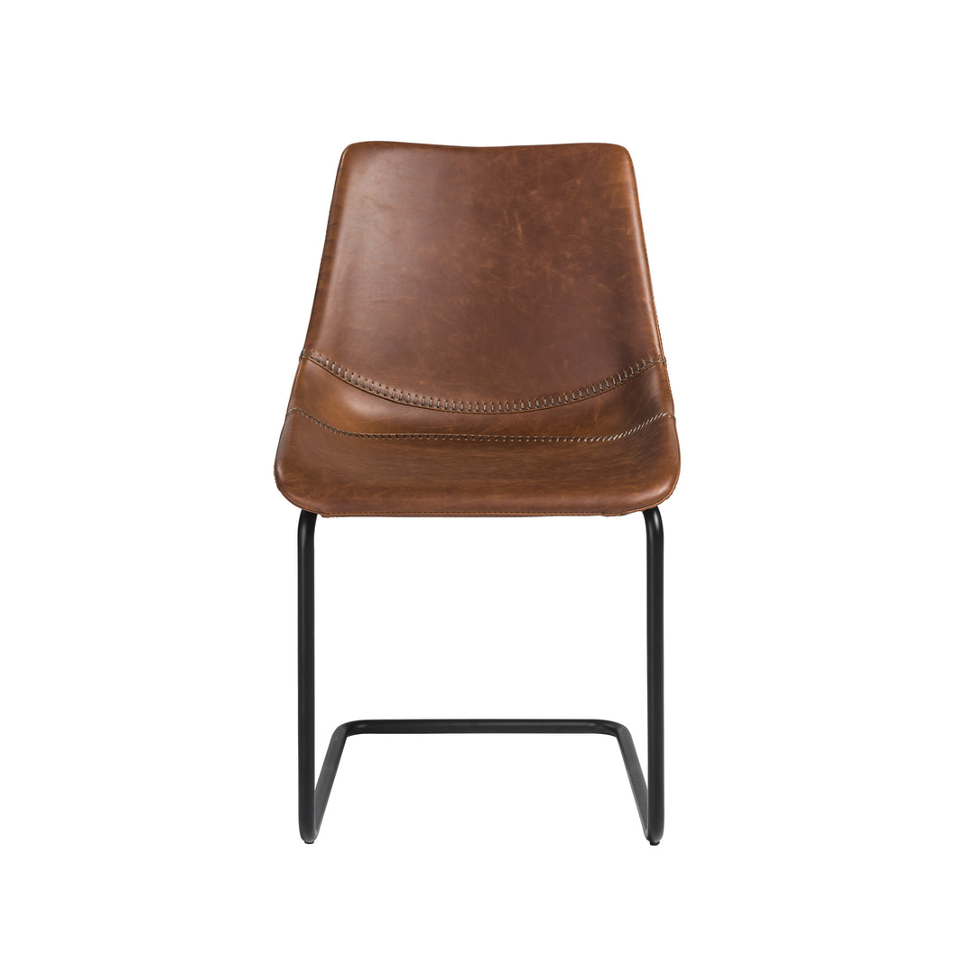 Brown Leatherette Conference or Guest Chairs with Black Base (Set of 2)