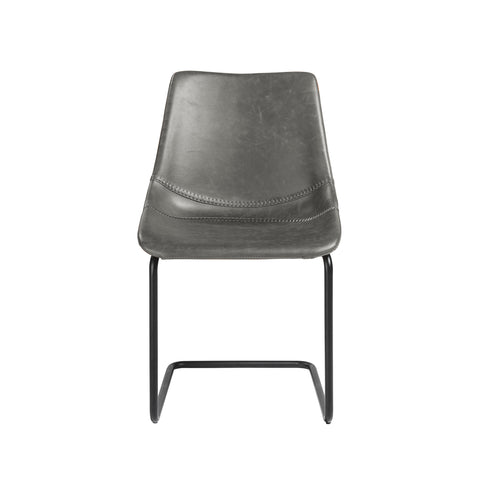 Grey Leatherette Conference or Guest Chairs with Black Base (Set of 2)