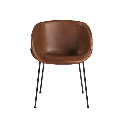 Brown Leatherette Guest or Conference Chair with Low Back (Set of 2)