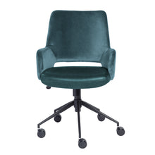 Load image into Gallery viewer, Modern Blue Velvet & Black Leather Office Armchair
