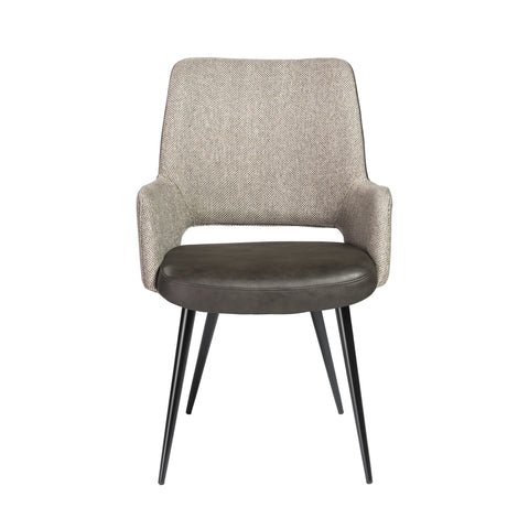 Padded Guest Armchair in Dark Gray Leatherette and Gray Fabric