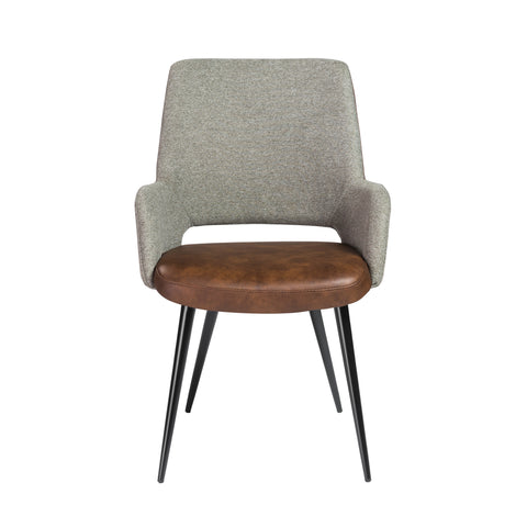 Padded Guest Armchair in Brown Leatherette and Gray Fabric