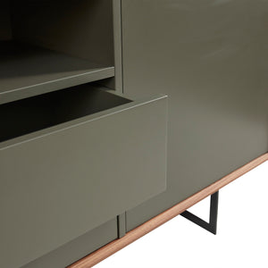 Walnut & Dark Gray Office Credenza w/ Modern Design