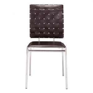 Classic Espresso Guest or Conference Chair w/ Crisscross Design (Set of 4)