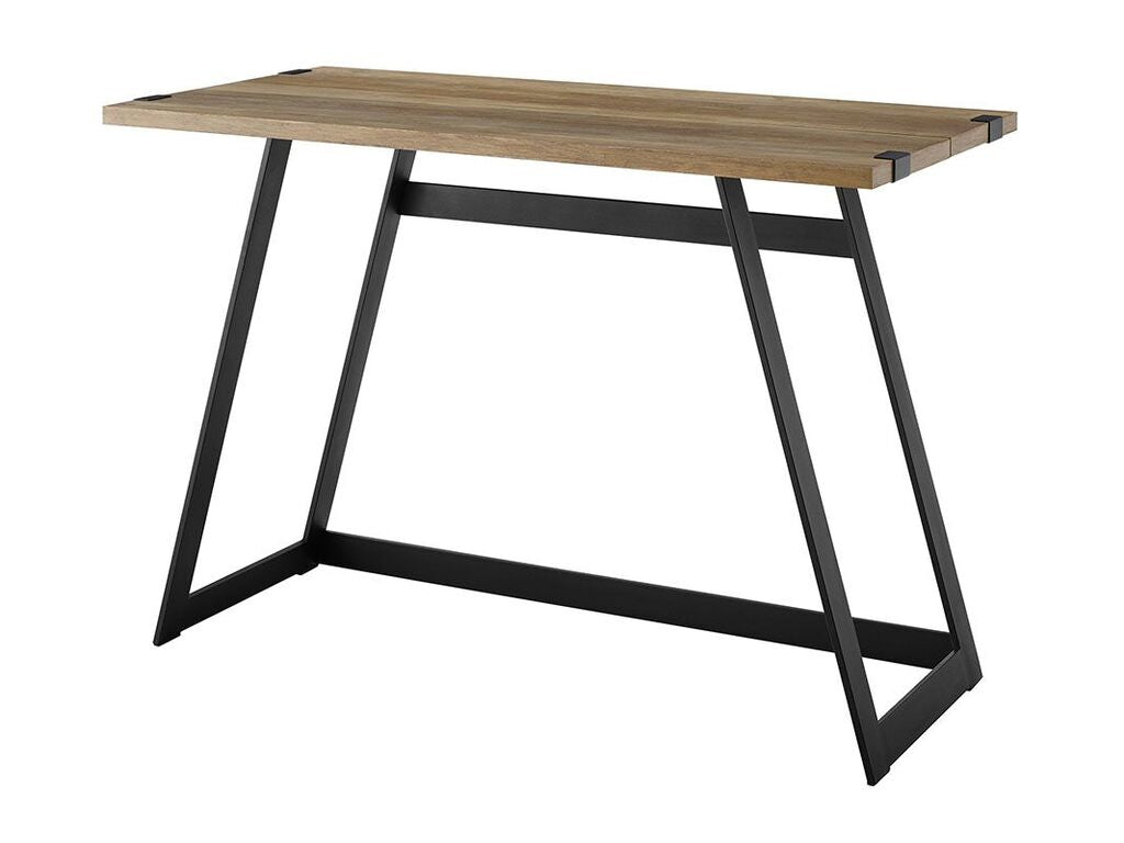 "Rustic Oak & Metal 42"" Office Desk w/ Geometric Design"