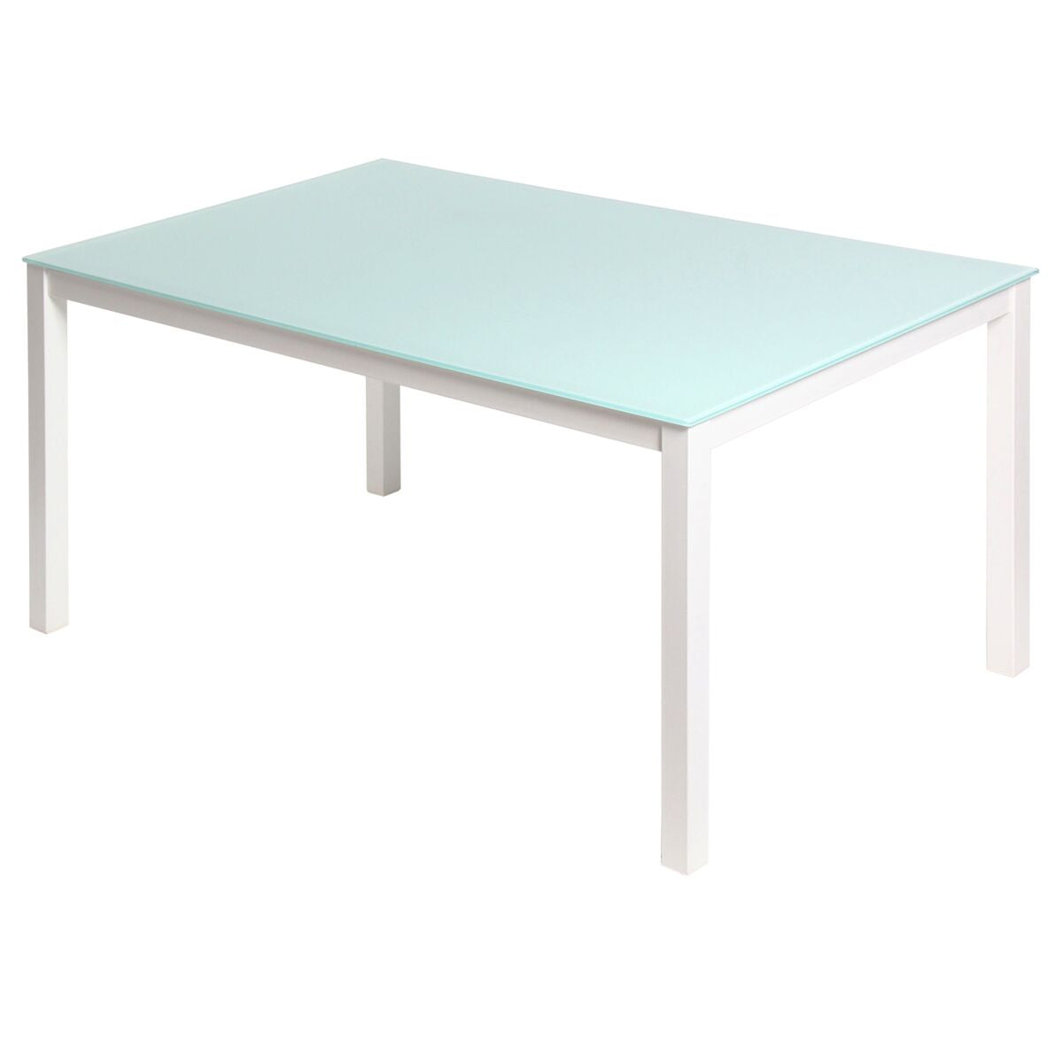 "59"" Charming Office Desk in White Tempered Glass"