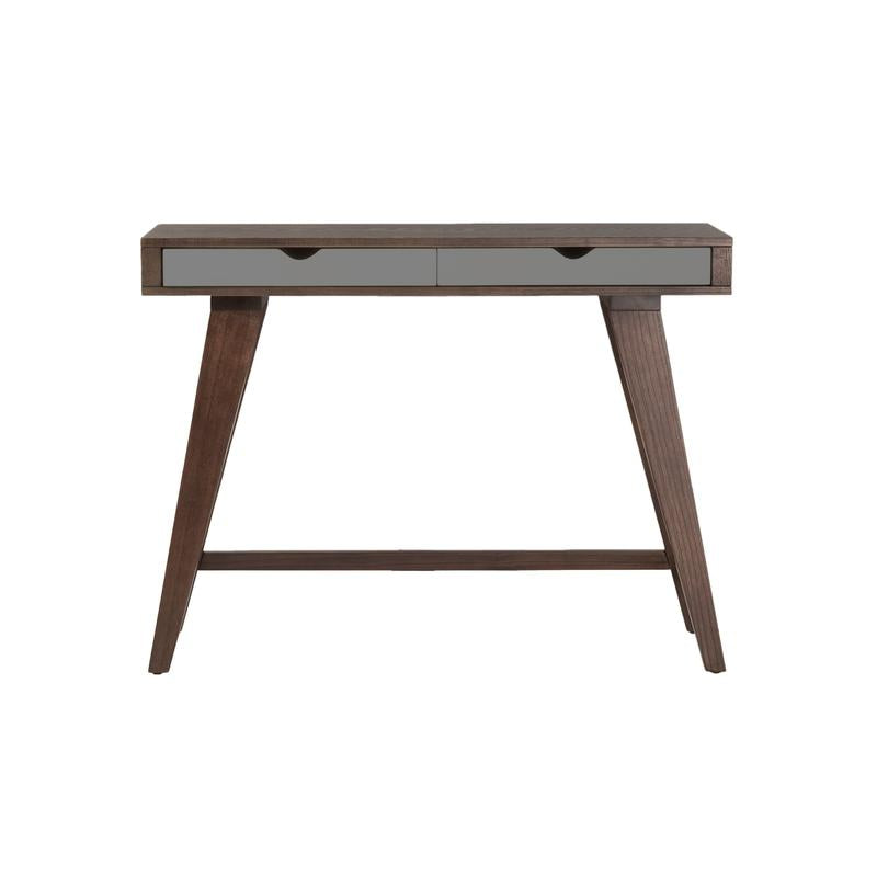 "Compact 40"" Dark Walnut Stained Console Desk"