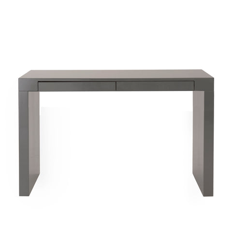 "Modern 47"" Gray Lacquer Office Desk with Drawers"
