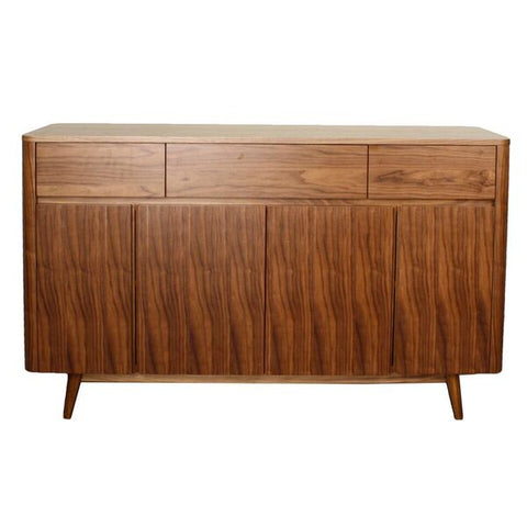Stylish Walnut and Teak Storage Credenza