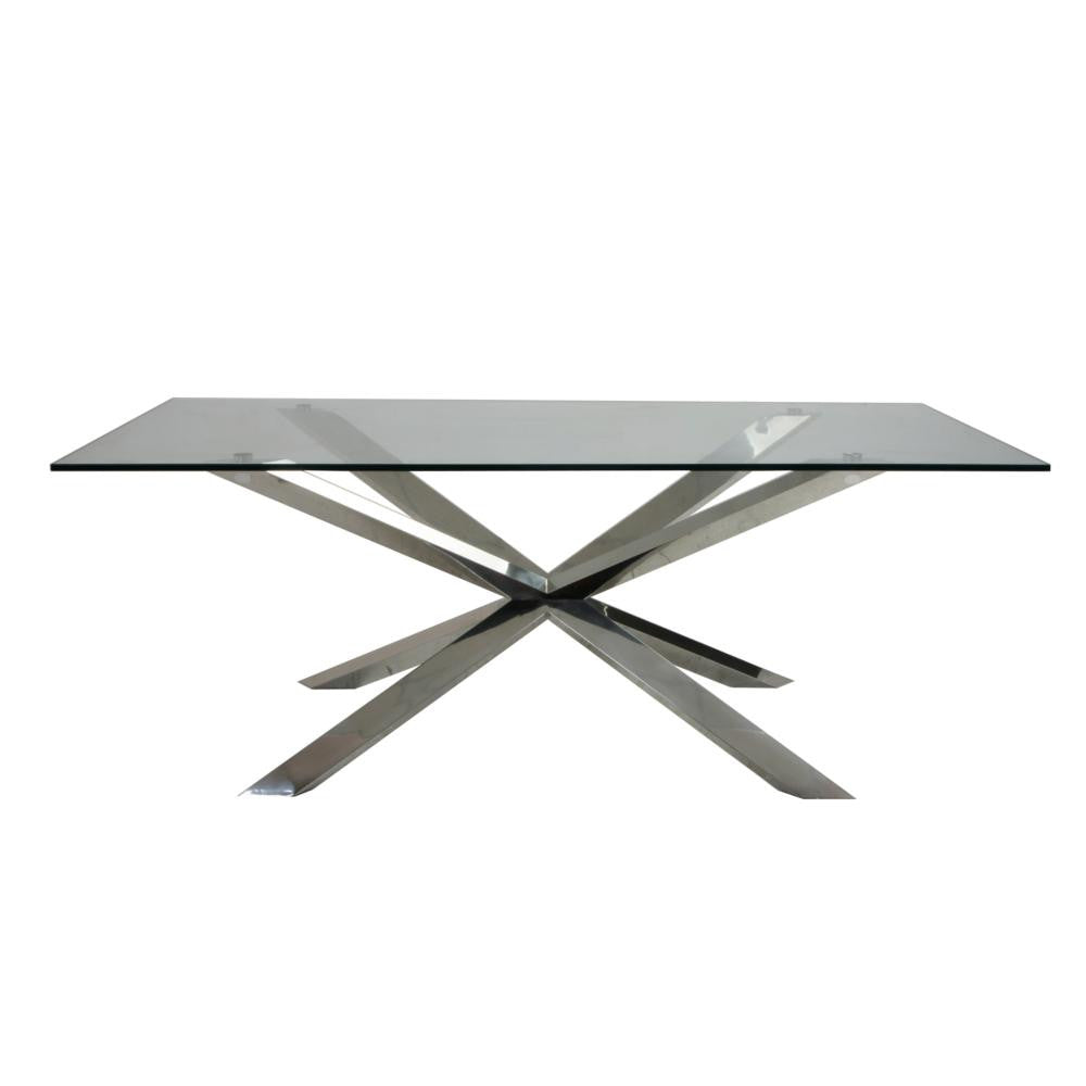 "79"" Modern Glass Desk or Meeting Table with Brushed Stainless Base"