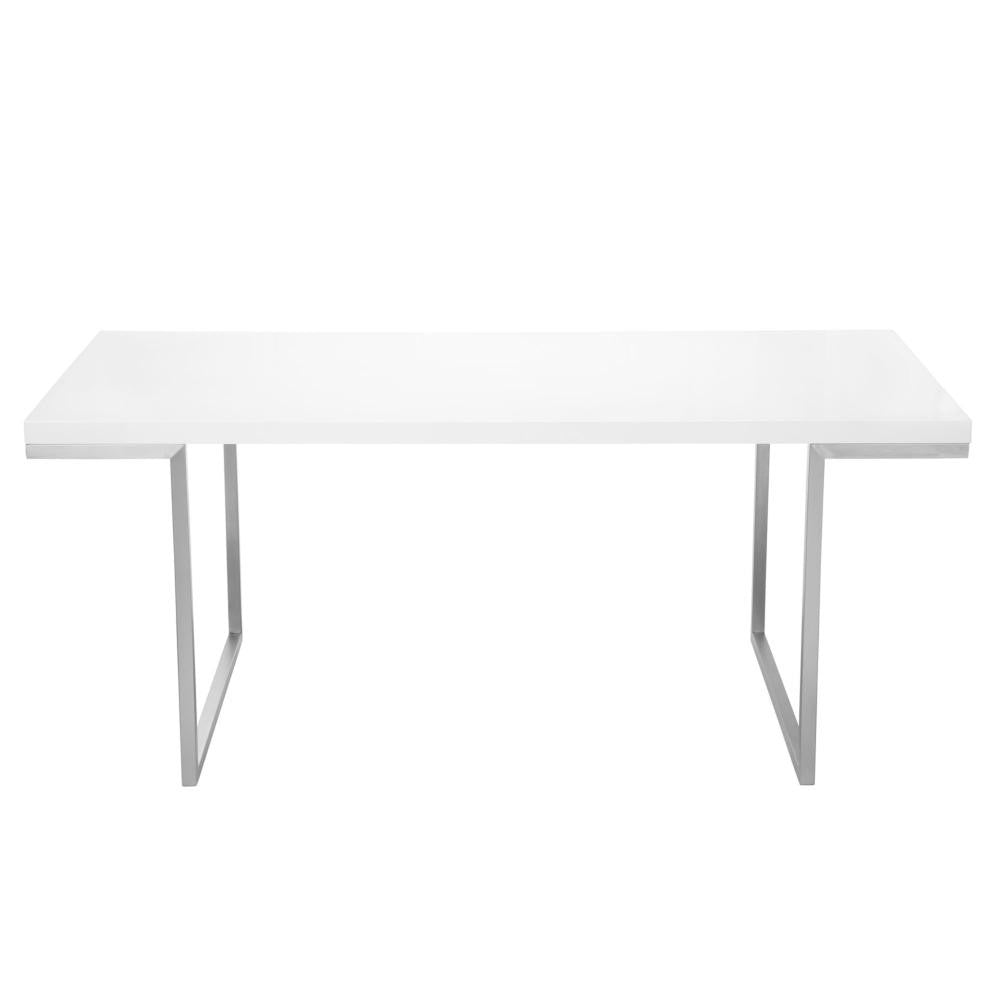 "Modern 71"" Executive Office Desk in White Lacquer"
