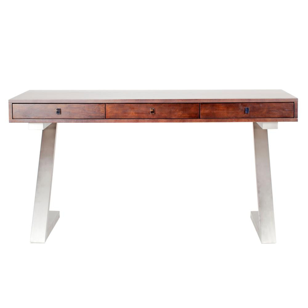 "Sleek 59"" Mahogany Office Desk with Brushed Stainless Z-Frame"