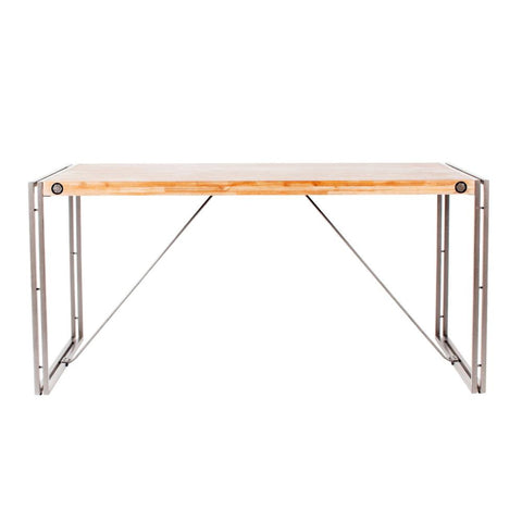 "63"" Solid Acacia Modern Executive Desk with Steel Legs"