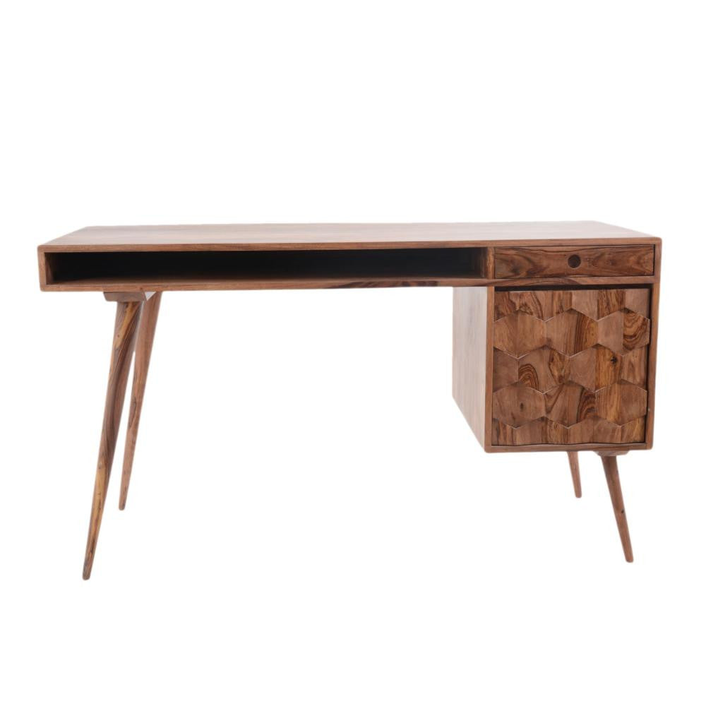 "Modern 54"" Solid Wood Office Desk with Intricate Wood Pattern"