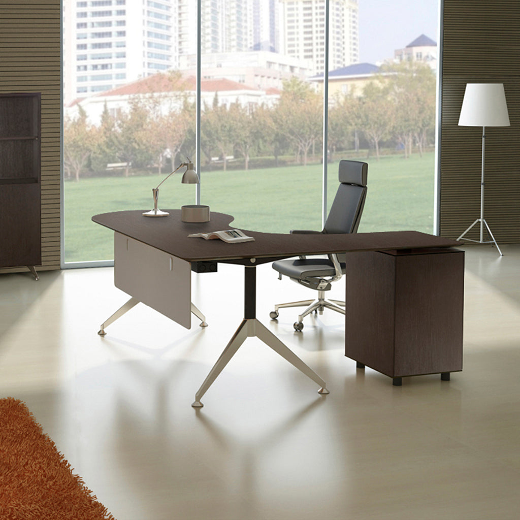 Teardrop L-shaped Espresso Desk with Built in Locking File (Left Return)