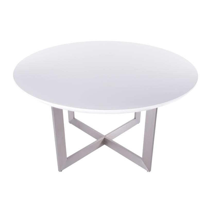 "54"" Charming White Lacquer Meeting Table"