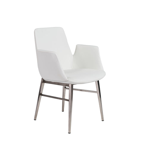 Guest or Conference Chair in White Leatherette & Steel