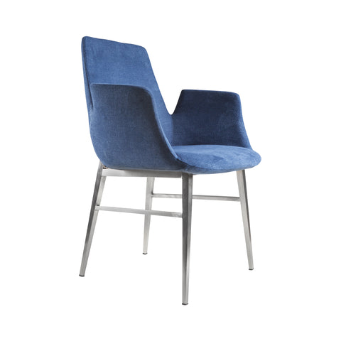 Guest or Conference Chair in Blue Velvet & Steel