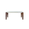 "71 - 111"" Extending Conference Table / Desk with White Glass Top & Solid Wood Legs"