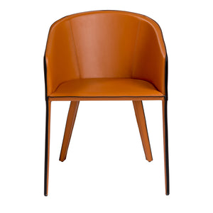 Leather Guest or Conference Chair in Black & Cognac