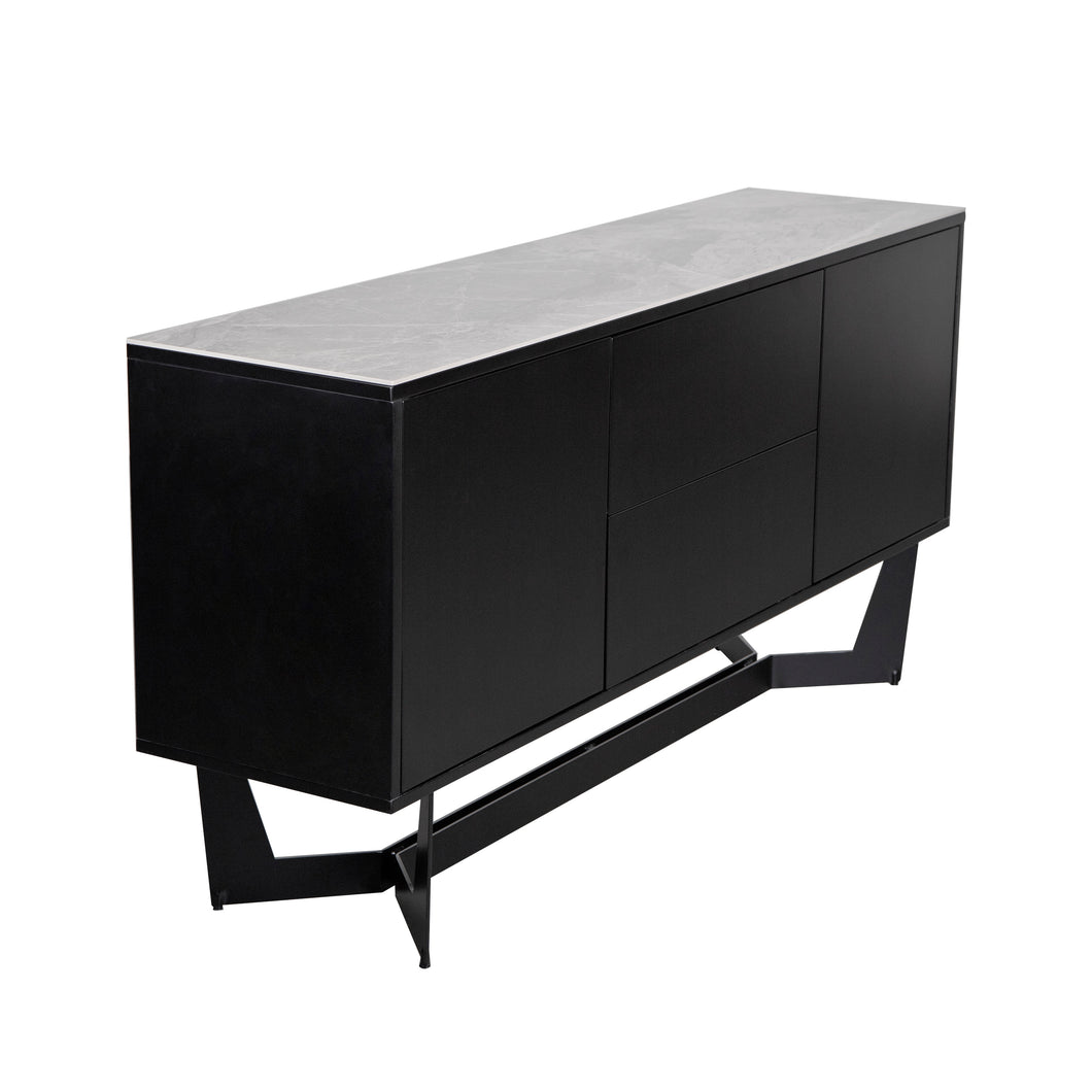 Sleek Storage Credenza in Black & Ash Gray