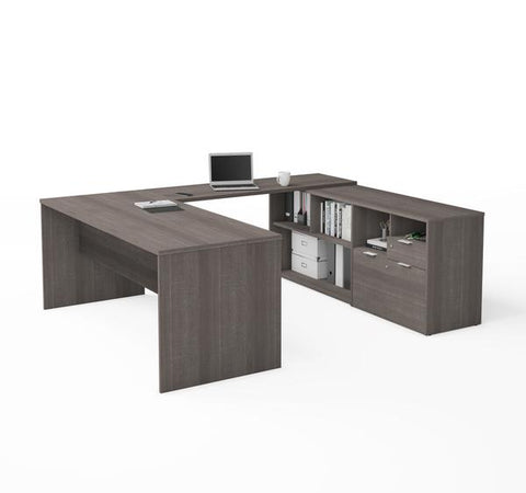 U-Shaped Bark Grey Office Desk and Credenza