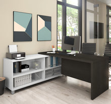 Load image into Gallery viewer, Modern Deep Gray and White L-Shaped Office Desk with Storage