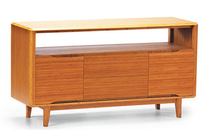 "Solid Bamboo 60"" Modern Executive Desk with Drawers in Caramel"
