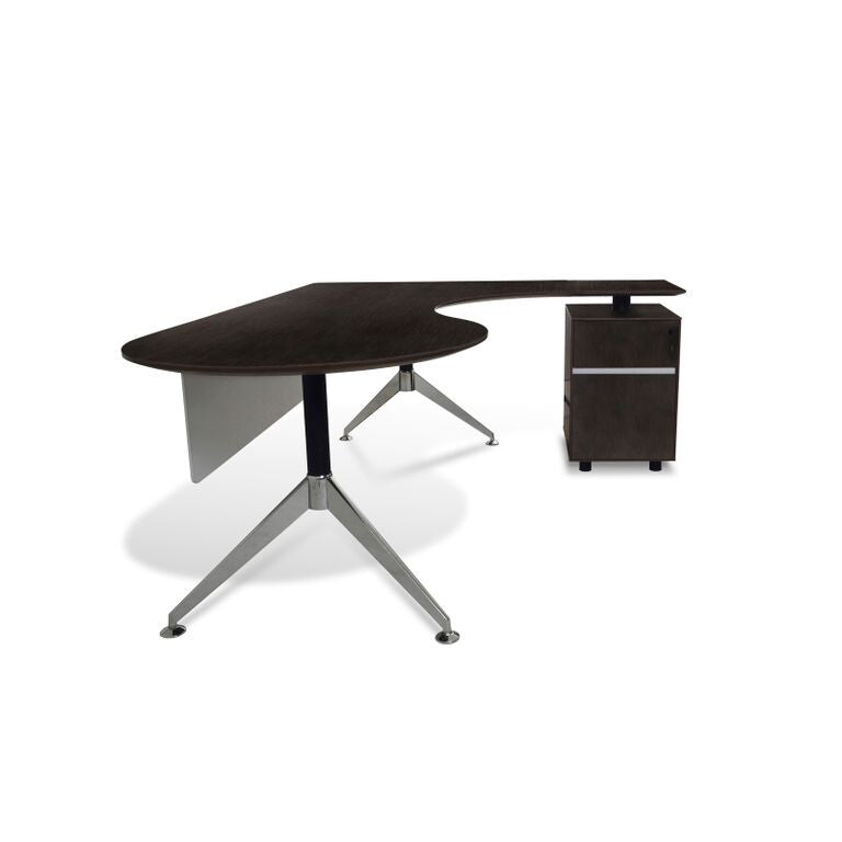 Teardrop L-shaped Espresso Executive Desk with Built in Locking File