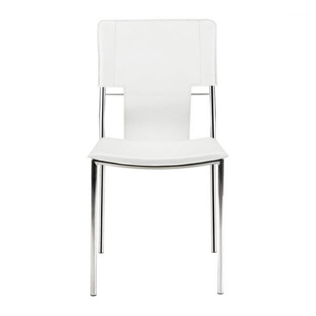 Timeless Guest or Conference Chair in White Leatherette (Set of 4)