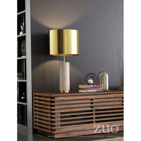 Sophisticated Office Table Lamp in Brass & White Marble