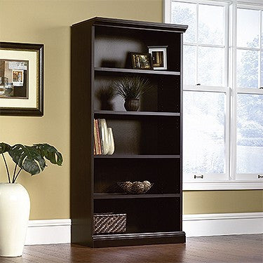 "Estate Black 72"" Bookcase with 5 Shelves"